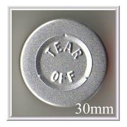 20mm Plain Vial Flip Caps, Metallic Silver, Bag 1000